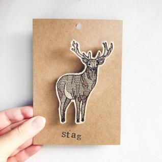 Kirsty Freeman Design - Handmade Badge, Embroidered Badge, Animal Badge, Stag Badge, Fabric Badge, Pin Badge, Cute Pin Badges, Pretty Badge, Decorative Badge, Unique Badge