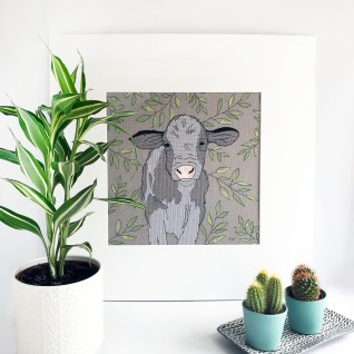 Kirsty Freeman Design - Wall Art, Art for Sale, Contemporary Embroidery, Modern Embroidery, Embroidery Art, Wall Decor, Kitchen Wall Art, Bedroom Wall Decor, Modern Wall Art, Cow Art, Wall Art