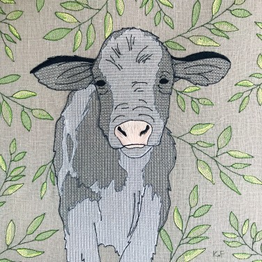 Kirsty Freeman Design - Wall Art, Art for Sale, Contemporary Embroidery, Modern Embroidery, Embroidery Art, Wall Decor, Kitchen Wall Art, Bedroom Wall Decor, Modern Wall Art, Cow Art, Wall Art 2