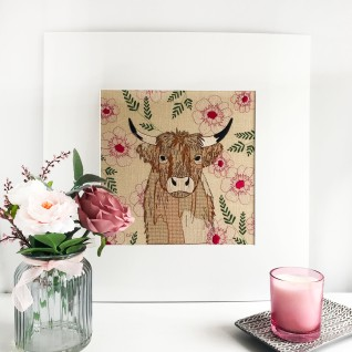Kirsty Freeman Design - Wall Art, Art for Sale, Contemporary Embroidery, Modern Embroidery, Embroidery Art, Wall Decor, Kitchen Wall Art, Bedroom Wall Decor, Modern Wall Art, Highland Cow Art, Wall Art