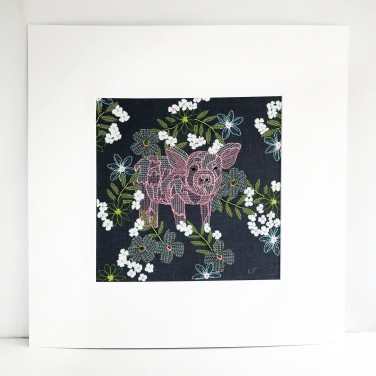 Kirsty Freeman Design - Wall Art, Pig Art, Art for Sale, Contemporary Embroidery, Modern Embroidery, Embroidery Art, Wall Decor, Kitchen Wall Art, Bedroom Wall Decor, Modern Wall Art, Wall Art Decor 10