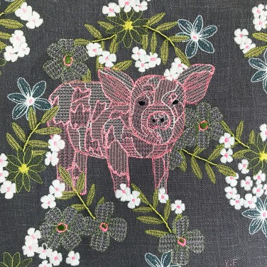 Kirsty Freeman Design - Wall Art, Pig Art, Art for Sale, Contemporary Embroidery, Modern Embroidery, Embroidery Art, Wall Decor, Kitchen Wall Art, Bedroom Wall Decor, Modern Wall Art, Wall Art Decor 11