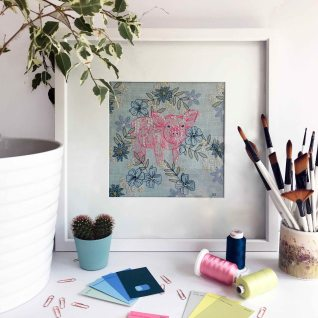 Kirsty Freeman Design - Wall Art, Pig Art, Art for Sale, Contemporary Embroidery, Modern Embroidery, Embroidery Art, Wall Decor, Kitchen Wall Art, Bedroom Wall Decor, Modern Wall Art, Wall Art Decor
