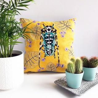Kirsty Freeman Design - Embroidered Cushion, Animal Pillow, Beetle Cushion, Decorative Pillow, Handmade Cushion, Beetle Pillow, Fancy Cushion, Linen Cushion, Throw Pillow