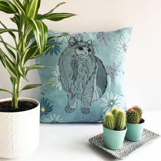 Kirsty Freeman Design - Embroidered Cushion, Animal Pillow, Cat Cushion, Decorative Pillow, Handmade Cushion, Cat Pillow, Fancy Cushion, Linen Cushion, Throw Pillow 3