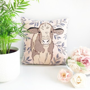 Kirsty Freeman Design - Embroidered Cushion, Animal Pillow, Cow Cushion, Decorative Pillow, Handmade Cushion, Cow Pillow, Fancy Cushion, Linen Cushion, Throw Pillow 3
