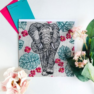 Kirsty Freeman Design - Greetings Card, Animal Card, Flower Card, Blank Card, Unique Card, Birthday Card, Thank You Card, Square Card, Occasions Card, Elephant Card 2
