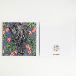 Kirsty Freeman Design - Greetings Card, Animal Card, Flower Card, Blank Card, Unique Card, Birthday Card, Thank You Card, Square Card, Occasions Card, Elephant Card 3