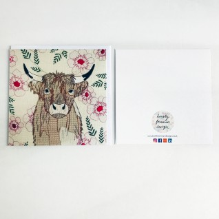 Kirsty Freeman Design - Greetings Card, Animal Card, Flower Card, Blank Card, Unique Card, Birthday Card, Thank You Card, Square Card, Occasions Card, Highland Cow Card, Cow Card 3