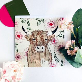 Kirsty Freeman Design - Greetings Card, Animal Card, Flower Card, Blank Card, Unique Card, Birthday Card, Thank You Card, Square Card, Occasions Card, Highland Cow Card, Cow Card