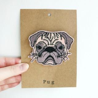 Kirsty Freeman Design - Handmade Badge, Embroidered Badge, Animal Badge, Pug Badge, Fabric Badge, Pin Badge, Cute Pin Badges, Pretty Badge, Decorative Badge, Unique Badge 1
