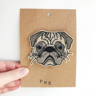 Kirsty Freeman Design - Handmade Badge, Embroidered Badge, Animal Badge, Pug Badge, Fabric Badge, Pin Badge, Cute Pin Badges, Pretty Badge, Decorative Badge, Unique Badge