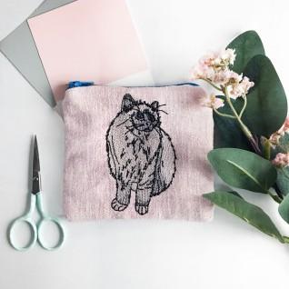 Kirsty Freeman Design - Handmade Purse, Embroidered Purse, Animal Purse, Fabric Purse, Coin Purse, Cat Purse, Cute Purse, Zipper Purse, Pretty Purse, Decorative Purse, Unique Purse 2