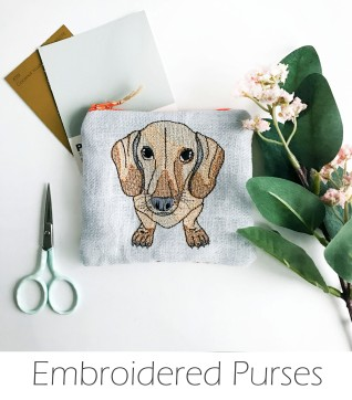 Kirsty Freeman Design - Handmade Purse, Embroidered Purse, Animal Purse, Fabric Purse, Coin Purse, Dachshund Purse, Cute Purse, Zipper Purse, Pretty Purse, Decorative Purse, Unique Purse