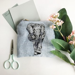 Kirsty Freeman Design - Handmade Purse, Embroidered Purse, Animal Purse, Fabric Purse, Coin Purse, Elephant Purse, Cute Purse, Zipper Purse, Pretty Purse, Decorative Purse, Unique Purse 2