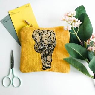Kirsty Freeman Design - Handmade Purse, Embroidered Purse, Animal Purse, Fabric Purse, Coin Purse, Elephant Purse, Cute Purse, Zipper Purse, Pretty Purse, Decorative Purse, Unique Purse