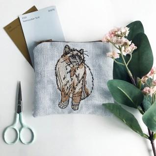 Kirsty Freeman Design - Handmade Purse, Embroidered Purse, Animal Purse, Fabric Purse, Coin Purse, Cat Purse, Cute Purse, Zipper Purse, Pretty Purse, Decorative Purse, Unique Purse