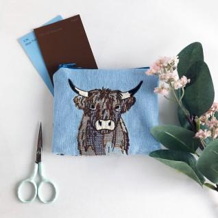 Kirsty Freeman Design - Handmade Purse, Embroidered Purse, Animal Purse, Fabric Purse, Coin Purse, Cow Purse, Cute Purse, Zipper Purse, Pretty Purse, Decorative Purse, Unique Purse 3