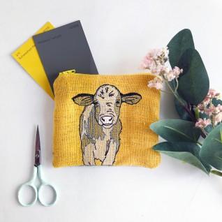 Kirsty Freeman Design - Handmade Purse, Embroidered Purse, Animal Purse, Fabric Purse, Coin Purse, Cow Purse, Cute Purse, Zipper Purse, Pretty Purse, Decorative Purse, Unique Purse 5