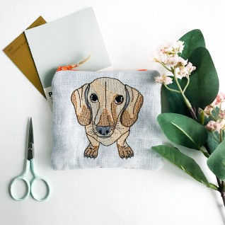 Kirsty Freeman Design - Handmade Purse, Embroidered Purse, Animal Purse, Fabric Purse, Coin Purse, Dachshund Purse, Cute Purse, Zipper Purse, Pretty Purse, Decorative Purse, Unique Purse
