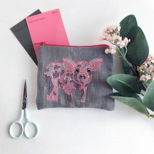 Kirsty Freeman Design - Handmade Purse, Embroidered Purse, Animal Purse, Fabric Purse, Coin Purse, Pig Purse, Cute Purse, Zipper Purse, Pretty Purse, Decorative Purse, Unique Purse 1
