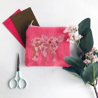 Kirsty Freeman Design - Handmade Purse, Embroidered Purse, Animal Purse, Fabric Purse, Coin Purse, Pig Purse, Cute Purse, Zipper Purse, Pretty Purse, Decorative Purse, Unique Purse 2