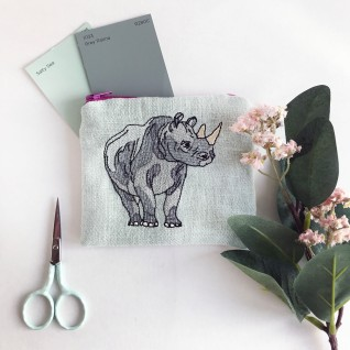 Kirsty Freeman Design - Handmade Purse, Embroidered Purse, Animal Purse, Fabric Purse, Coin Purse, Rhino Purse, Cute Purse, Zipper Purse, Pretty Purse, Decorative Purse, Unique Purse 2
