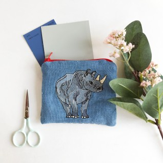Kirsty Freeman Design - Handmade Purse, Embroidered Purse, Animal Purse, Fabric Purse, Coin Purse, Rhino Purse, Cute Purse, Zipper Purse, Pretty Purse, Decorative Purse, Unique Purse
