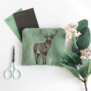 Kirsty Freeman Design - Handmade Purse, Embroidered Purse, Animal Purse, Fabric Purse, Coin Purse, Stag Purse, Cute Purse, Zipper Purse, Pretty Purse, Decorative Purse, Unique Purse